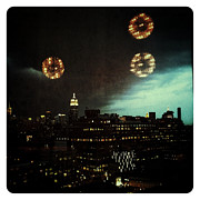 Nyc Digital Art Posters - Night Falls on Manhattan Poster by Natasha Marco