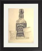 Glass Bottle Drawings Originals - Night In With A Jack Daniels by Perry Andrews