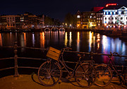 Night Scene Prints - Night Lights on the Amsterdam Canals. Holland Print by Jenny Rainbow