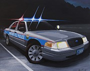 Police Cruiser Painting Posters - Night Patrol Poster by Robert VanNieuwenhuyze