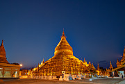 Civilizations Originals - Night Shot Golden Shwezigon Pagoda by Juergen Ritterbach