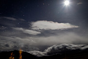 Moonlit Scene Prints - Night sky in Saga Tibet Print by Raimond Klavins