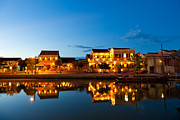 Colonial Scene Framed Prints - Night view of Hoi An City Vietnam Framed Print by Fototrav Print