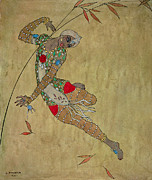 Dancer Paintings - Nijinsky in Le Festin LOiseau dOr by Georges Barbier