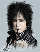 Featured Pastels Framed Prints - Nikki Sixx Framed Print by Melanie D