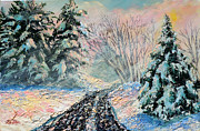Gravel Road Painting Framed Prints - Nixons A Colorful Winter Day Framed Print by Lee Nixon