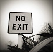 Exit Sign Prints - No exit Print by Les Cunliffe