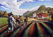 Folksy Paintings - no5 Happy Birthday Grandpa by Walt Curlee