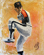 Astros Painting Prints - Nolan Ryan Print by Adam Barone