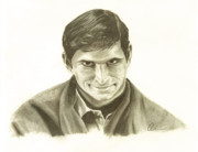 Films By Alfred Hitchcock Drawings Prints - Norman Bates Portrait Print by M Oliveira