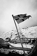 Norwegian Coast Framed Prints - Norwegian Post Flag Flying On Stern Of Hurtigruten Coastal Ship Havoysund Finnmark Norway Framed Print by Joe Fox