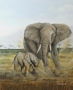 Animals Paintings - Not so close by Gilles Delage