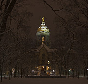 Indiana Framed Prints - Notre Dame Golden Dome Snow Framed Print by John Stephens