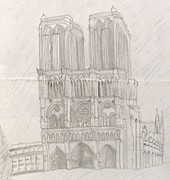 Picturesque Drawings Posters - Notre Dame Poster by Manasa Patapatnam