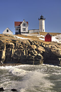 East Coast Rocks Posters - Nubble Lighthouse 3 Poster by Joann Vitali