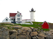 Nubble Lighthouse Prints - Nubble Lighthouse Print by Denise Mazzocco