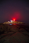 Nubble Lighthouse Framed Prints - Nubble Lighthouse York Maine at Night Framed Print by Nestor Colon
