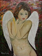 Nude Angel Print by Maria Karalyos