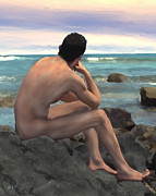 Gay Digital Art - Nude Male by the Sea by Kurt Van Wagner