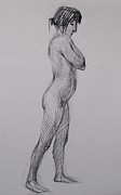 Figure Study Drawings Prints - Nude No.20 Print by Nika Zakharov