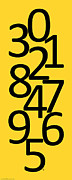 Numbers Digital Art - Numbers in Black and Yellow by Jackie Farnsworth