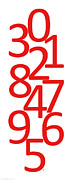 Numbers Digital Art - Numbers in Red and White by Jackie Farnsworth