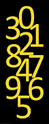 Numbers Digital Art - Numbers in Yellow and Black by Jackie Farnsworth