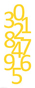 Numbers Digital Art - Numbers in Yellow by Jackie Farnsworth