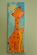 Mother And Baby Giraffe Paintings - Nursery Art by Alina Azeem