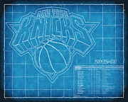 Nba Posters - NY Knicks Blueprint Poster by Joe Myeress
