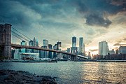 Brooklyn Bridge Prints - NYC skyline in the sunset v1 Print by Hannes Cmarits