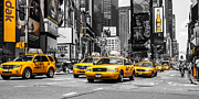 Buidlings Framed Prints - NYC Yellow Cabs - ck Framed Print by Hannes Cmarits