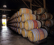 Wine Making Posters - Oak Barrels at Ventana Vineyards Poster by Craig Lovell