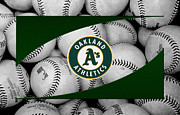 Baseballs Posters - OAKLAND As Poster by Joe Hamilton