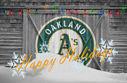 Baseball Bat Photo Framed Prints - Oakland Athletics Framed Print by Joe Hamilton