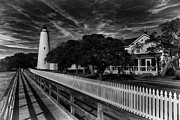 Ocracoke Digital Art Framed Prints - Ocracoke Lighthouse Framed Print by Tony Cooper