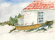 Maine Shore Painting Originals - Off Season by Janet Kane