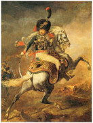 Soldier Paintings - Officer of the Hussars by Theodore Gericault