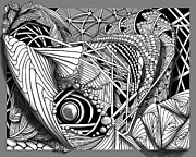 Seashell Drawings Metal Prints - Oh Really Metal Print by Dorinda K Skains