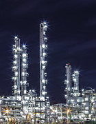 Gas Tower Prints - Oil Refinery Industry Print by Anek Suwannaphoom