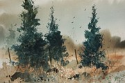 Cedars Paintings - Oklahoma Cedars by Micheal Jones