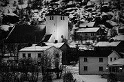 Norwegian Fishing Village Prints - Oksfjord Church And Village During Winter Norway Europe Print by Joe Fox