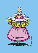 Waitress Drawings Posters - Oktoberfest Beer Waitress Dirndl Poster by Frank Ramspott