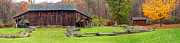 Split Rail Fence Prints - Old Barn Panorama Print by Dave Mills