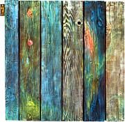Blue Sculpture Prints - Old Barnyard Gate with Colors Brightened Print by Asha Carolyn Young
