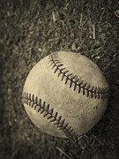 Field Metal Prints - Old Baseball Metal Print by Edward Fielding