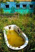 Aquamarine Prints - Old Bathtub Near Painted Barn Print by Amy Cicconi