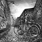 Foggy Street Scene Acrylic Prints - Old Bicycles on a Sunday Morning Acrylic Print by Debra and Dave Vanderlaan