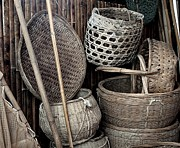 Wicker Baskets Prints - Old Chinese Farm Tools Print by Yali Shi