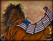 Patriotism Pastels Posters - Old Glory Poster by Julie Lowden